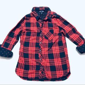Gap Boyfriend Plaid Flannel Dot Liner Navy/Red XS